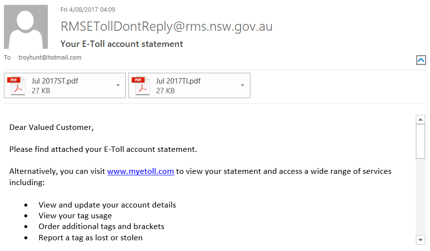 RMS E-toll Email Example