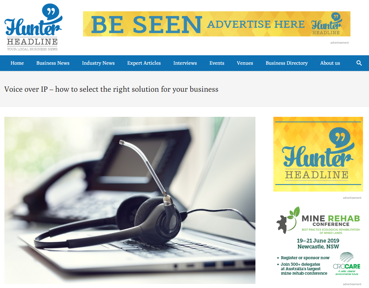 Diamond VoIP advice featured by Hunter Headline